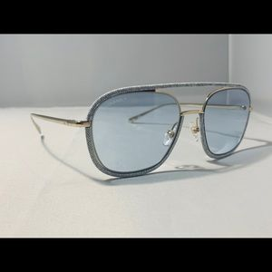 NEW $485! CHANEL Pilot Light Blue Denim Sunglasses